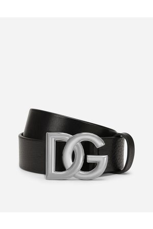 Dolce & Gabbana Collection - Tumbled leather belt with crossover DG logo buckle male 90