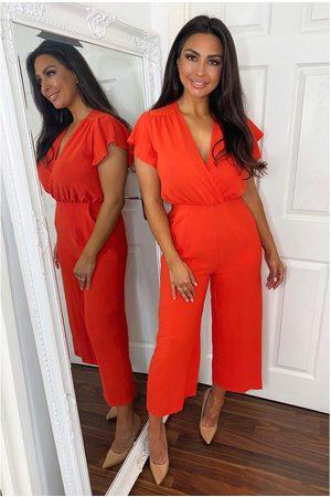 Ax Paris Blood Orange Frill Sleeve Wrap Jumpsuit