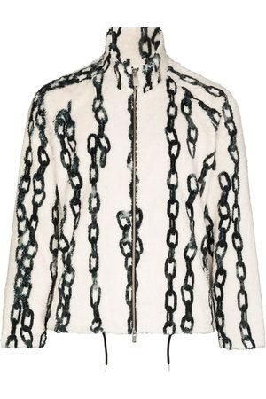 Sulvam Chain-print fleece jacket