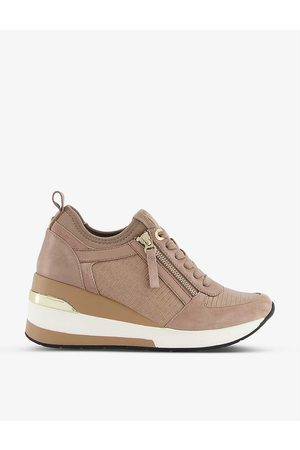 Dune Women Wedge Trainers - Elin panelled leather wedge-heel trainers