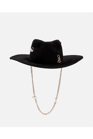Ruslan Baginskiy Women Hats - CHAIN STRAP FELT FEDORA HAT size M
