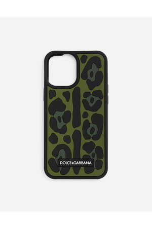 Dolce & Gabbana Men Phones - Technology - Rubber iPhone 12 Pro Max cover with leopard print against a green background male OneSize