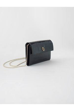 Maje Croco Embossed Leather Wallet With Chain