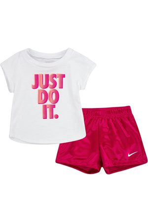 Nike Younger Girl Graphic T-Shirt And Shorts 2-Piece Set - White/Red