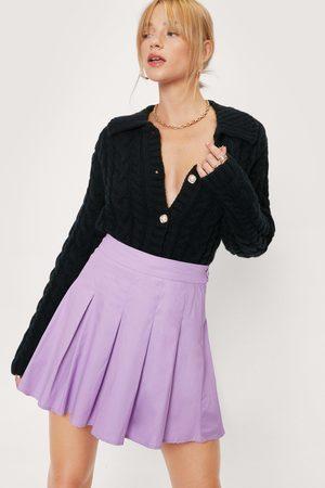 NASTY GAL Womens Petite High Waisted Pleated Mini Skirt