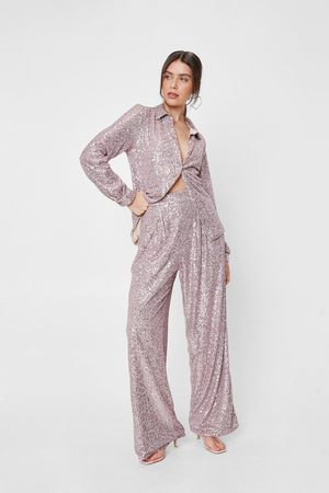 NASTY GAL Womens Sequin Detail High Waisted Wide Leg trousers