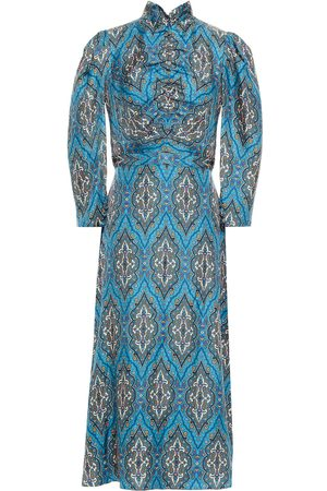 Sandro Women Midi Dresses - Woman Kaela Ruched Printed Silk-satin Midi Dress Teal Size 34