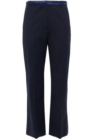 Sandro Woman Embroidered Twill Kick-flare Pants Navy Size 34