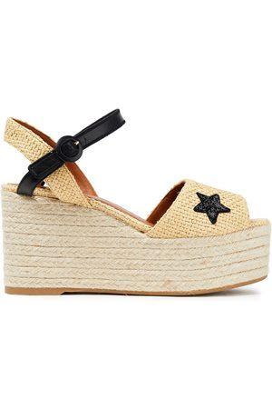 Castaner Castañer Woman Etel Appliquéd Woven Faux Raffia Espadrille Platform Sandals Cream Size 35