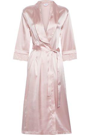 La Perla Women Bathrobes - Woman Adele Lace-trimmed Silk-blend Satin Robe Pastel Size 1