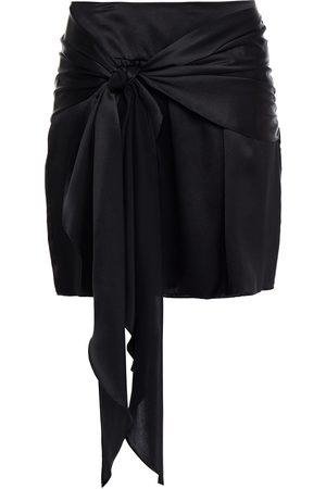 Michelle Mason Women Mini Skirts - Woman Knotted Draped Silk-charmeuse Mini Skirt Size 0
