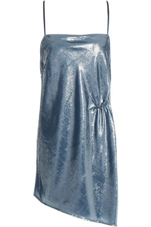 Michelle Mason Woman Asymmetric Ruched Metallic Velvet Mini Dress Slate Size 0