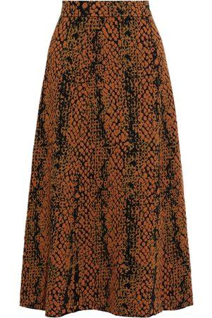 ULLA JOHNSON Women Midi Skirts - Woman Nina Wool-jacquard Midi Skirt Tan Size L