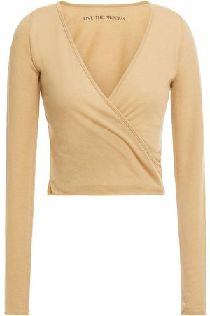LIVE THE PROCESS Woman Cropped Wrap-effect Cotton And Cashmere-blend Jersey Top Sand Size L