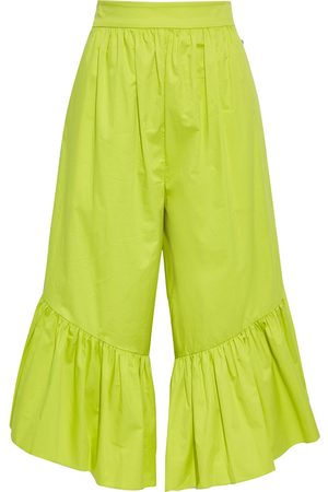 tibi Women Culottes - Woman Ruffled Cotton-poplin Culottes Chartreuse Size 0