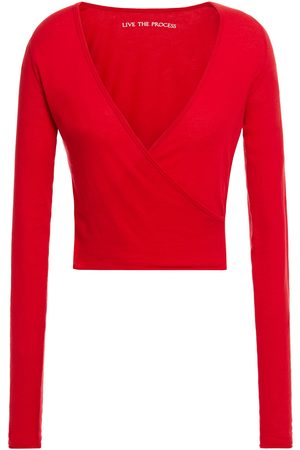 LIVE THE PROCESS Woman Cropped Wrap-effect Cotton And Cashmere-blend Jersey Top Size L