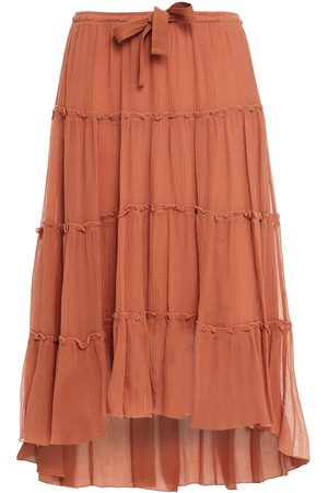 See by Chloé Women Midi Skirts - See By Chloé Woman Ruffled Cotton And Silk-blend Crepon Midi Skirt Antique Rose Size 36