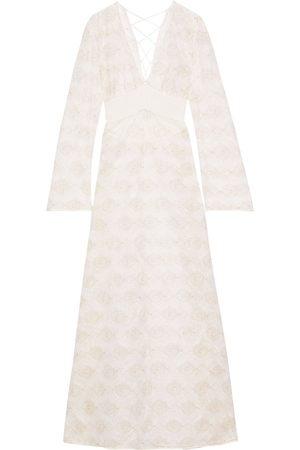 La Perla Women Nightdresses & Shirts - Woman Arianna Lace-up Metallic Embroidered Tulle Nightdress Off- Size 1