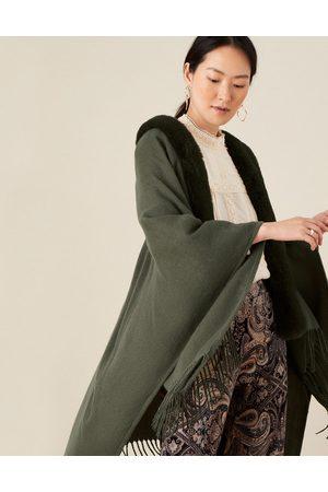 Monsoon Khaki Faux Fur Wrap Cover-up Plain