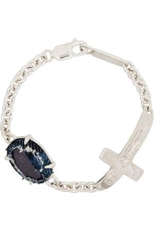 Sweetlimejuice Men Bracelets - Sterling silver cross detail bracelet - Metallic