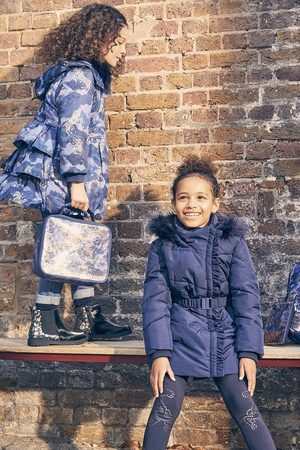 Monsoon Girls Coats - (NAVY) Ruffle Padded and Hooded Coat , in Size: 11-12 Years