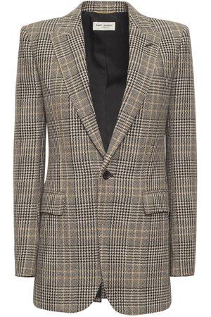 Saint Laurent Virgin Wool Prince Of Wales Jacket