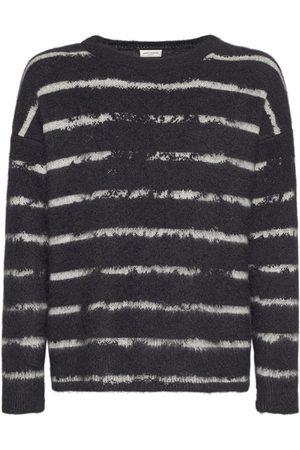Saint Laurent Striped Mohair Blend Sweater