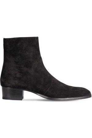 Saint Laurent Men Cowboy Boots - Wyatt 40 Zipped Suede Western Boots