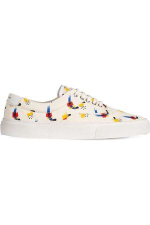 Saint Laurent Stroke Print Cotton Canvas Sneakers