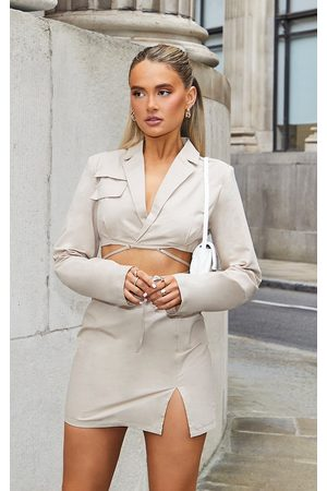 PRETTYLITTLETHING Women Bodycon Dresses - Stone Woven Cut Out Tie Waist Utility Style Blazer Bodycon Dress