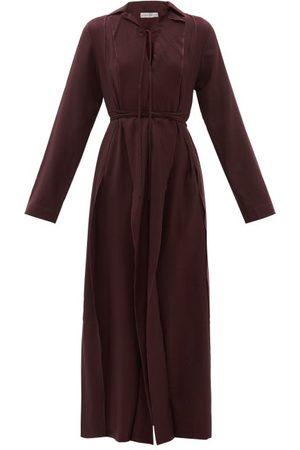 PALMER / HARDING Palmer//harding - Emotions Unfold Wool-twill Maxi Dress - Womens - Burgundy