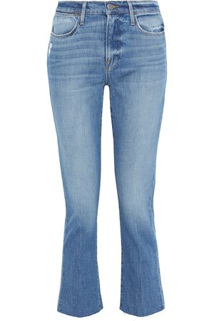 Frame Women Slim - Woman Le High Straight Cropped Distressed Mid-rise Slim-leg Jeans Mid Denim Size 24