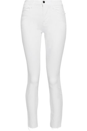 Frame Women Skinny - Woman Le High Skinny Cropped Frayed Mid-rise Skinny Jeans Size 25