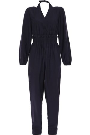 tibi Women Jumpsuits - Woman Gathered Twill Jumpsuit Navy Size 0