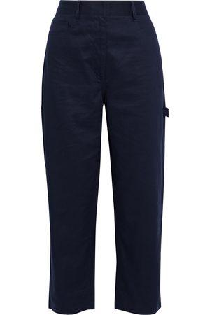 tibi Woman Cotton-twill Wide-leg Pants Midnight Size 24
