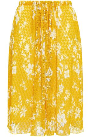 See by Chloé Women Printed Skirts - See By Chloé Woman Gathered Floral-print Lace Skirt Marigold Size L