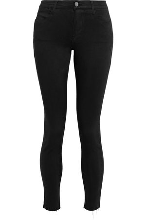 Frame Women Skinny - Woman Le High Skinny Cropped Frayed Mid-rise Skinny Jeans Size 24