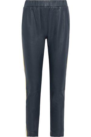 Walter Baker Women Leather Trousers - Woman Tessa Striped Leather Skinny Pants Storm Size L
