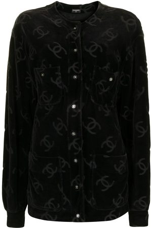 CHANEL 1990s all-over logo print collarless jacket