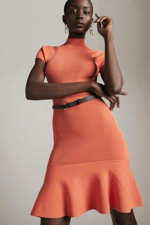 Karen Millen Karen Millen Funnel Neck Knitted Flippy Dress