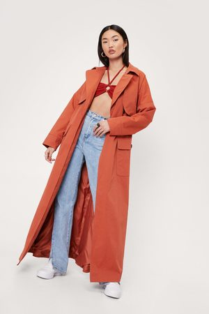 NASTY GAL Women Trench Coats - Womens Maxi Corduroy Collar Belted Trench Coat