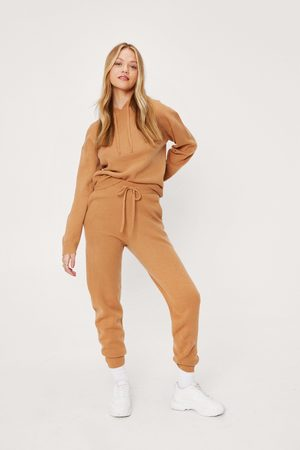 NASTY GAL Women Trousers - Womens Soft Knit Hoodie and Jogger Set