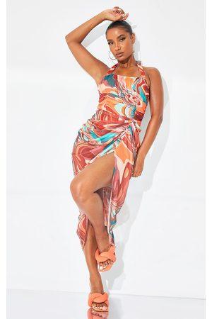 PRETTYLITTLETHING Multi Marble Mesh Halterneck Corset Detail Gathered Skirt Midaxi Dress