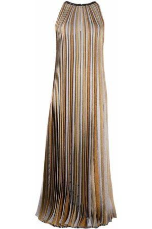 Missoni Glitter-detail pleated stripe dress - Neutrals