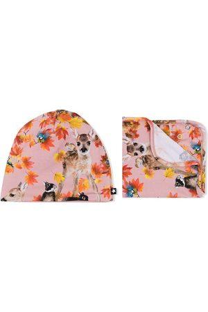 Molo Botanical-print organic-cotton hat set