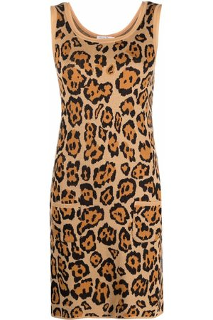 Dior Women Knitted Dresses - 2010s pre-owned animal-pattern knitted dress - Neutrals