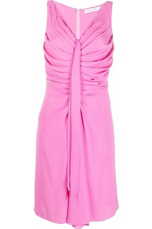 Christian Dior 2010s pre-owned draped front sleeveless dress