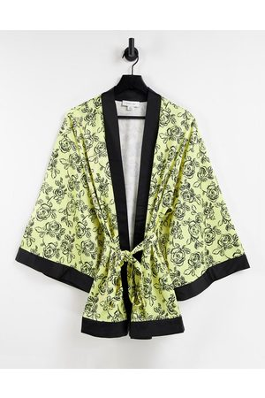 Lost Ink Stencil flower oversized dressing gown in