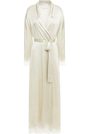 Carolina Herrera Woman Lace-trimmed Silk-satin Robe Ecru Size L