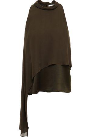 Halston Heritage Woman Sasha Tie-neck Layered Silk Crepe De Chine And Satin Top Army Size 10
